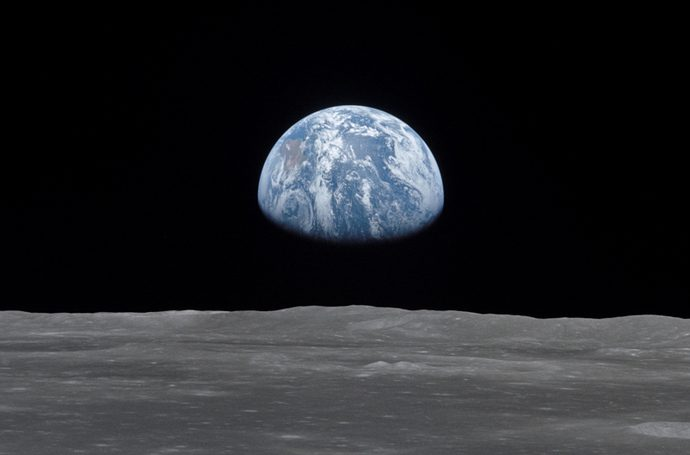 View of moon limb,with Earth on the horizon