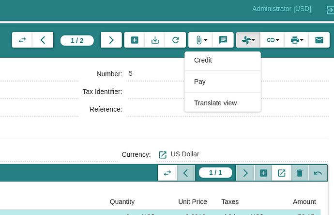 Action menu of invoice
